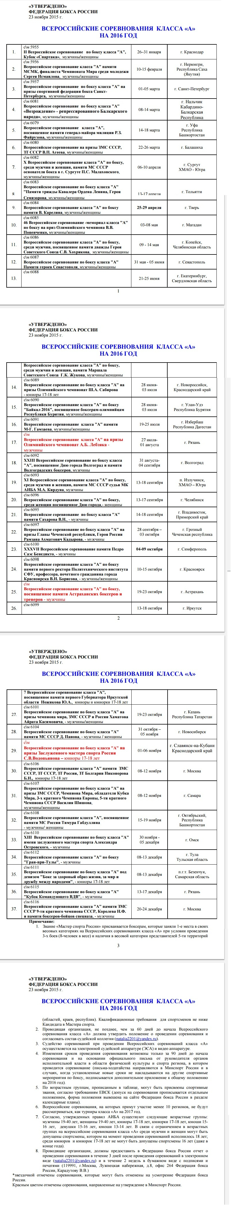 Календарный план проведения Всероссийских турниров по боксу класса